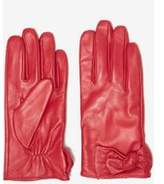 Dorothy Perkins Womens Red Ruched Leather Knot Gloves- Red