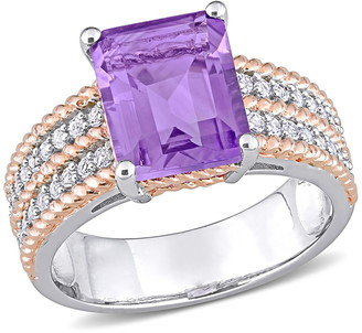 Delmar Two-Tone Square Cut Amethyst Pave Whate Topaz Accent Band Cocktail Ring - 0.00 ctw
