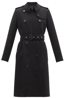 Burberry Kensington Felted-cashmere Trench Coat - Black