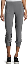 Norma Kamali Side-Stripe Jog Pants, Gray