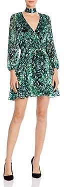 Alice + Olivia Rita Blouson-Sleeve Choker Dress