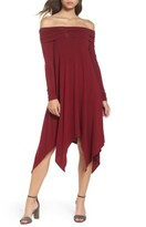 BCBGMAXAZRIA Women's Off The Shoulder Knit A-Line Dress