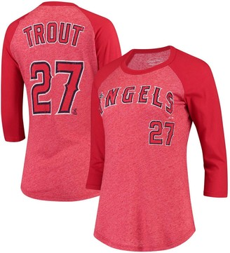 Majestic Women's Threads Mike Trout Red Los Angeles Angels Name & Number Tri-Blend Three-Quarter Length Raglan T-Shirt