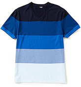 Murano Liquid Luxury Slim-Fit Stripe V-Neck Top