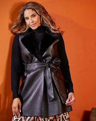 Joanna Hope Faux Leather Gilet