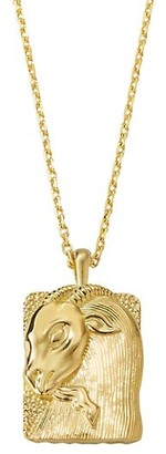 David Webb Zodiac 18K Yellow Gold Reversible Capricorn Pendant Necklace