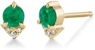 Lizzie Mandler Emerald and Diamond Spike Single Stud