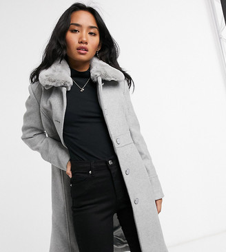 Forever New Petite long coat with faux fur collar in grey