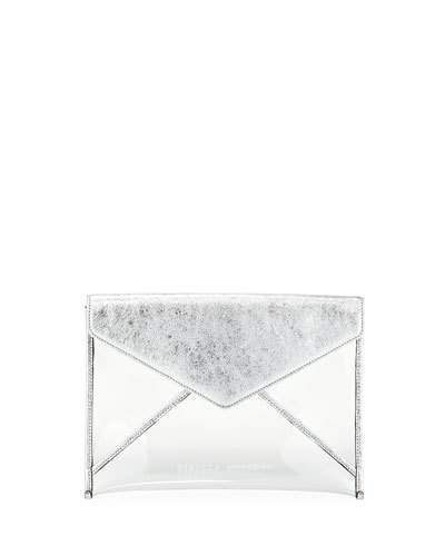 Rebecca Minkoff Leo Transparent See-Through Envelope Clutch Bag
