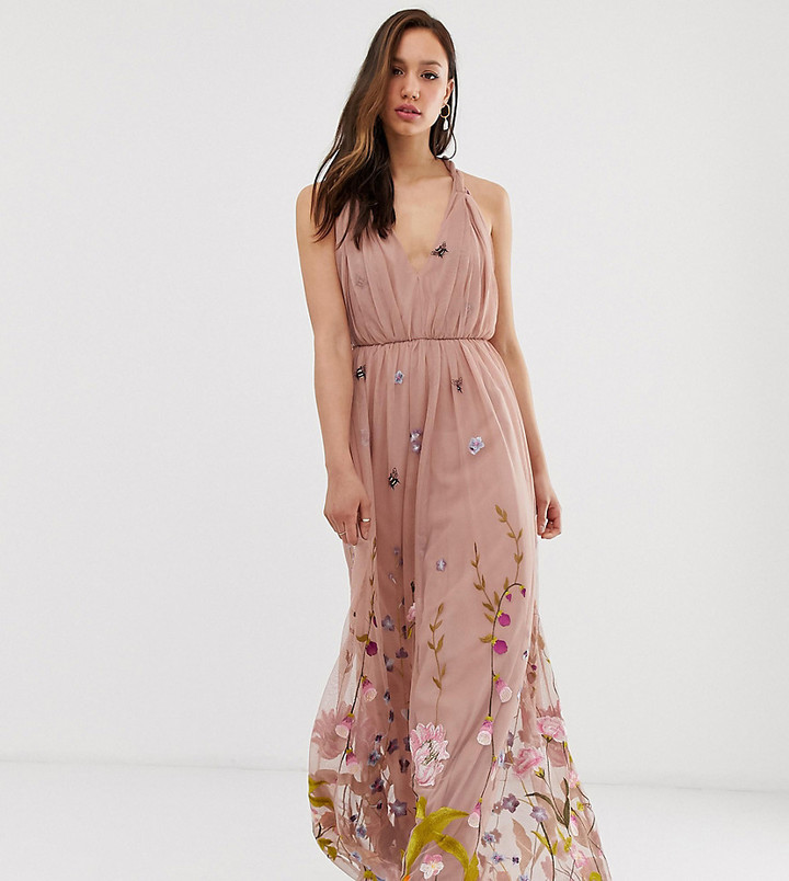 Asos Tall DESIGN Tall tulle maxi dress with delicate floral embroidery and twist straps