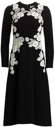Lela Rose Lace Applique Wool Crepe Dress