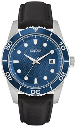 Bulova Men's Quartz Leather Strap Watch, 43mm