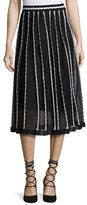 M Missoni Triangle-Striped A-Line Midi Skirt, Black Pattern