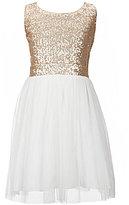 Poppies and Roses Big Girls 7-16 Sequin-Bodice Sheer-Overlay Skirt Dress