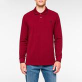 Paul Smith Men's Burgundy PS Logo Long-Sleeve Organic-Cotton Polo Shirt