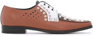 Prada Studded Color-block Perforated Leather Brogues