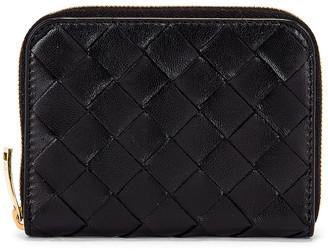 Bottega Veneta Leather Woven Zip Around Wallet in Black & Gold | FWRD