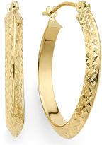FINE JEWELRY Diamond-Cut 14K Yellow Gold 22.95mm Knife-Edge Hoop Earrings