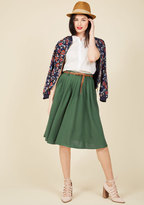 ModCloth Breathtaking Tiger Lilies Midi Skirt in Stem Green in S