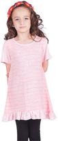 Pink Stripe Ruffle Dress - Girls