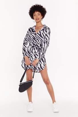 Nasty Gal Womens Earn Your Stripes Zebra Shirt Dress - white - 6