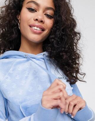 Juicy Couture embossed velour hoodie in blue