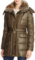 Vince Camuto Belted Faux Fur-Trim Anorak