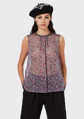 Emporio Armani Chiffon Top With Eyeglasses Print