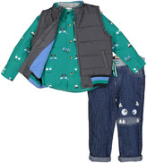 Nannette Kids Boys' Outerwear Vests GREY - Green Monster Button-Up & Vest Set - Toddler