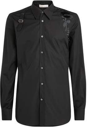 Alexander McQueen Japanese Camellia Embroidered Harness Shirt