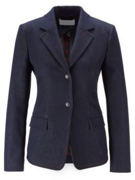 HUGO BOSS Stretch Denim Jacket With Notch Lapels And Flap Pockets - Dark Blue