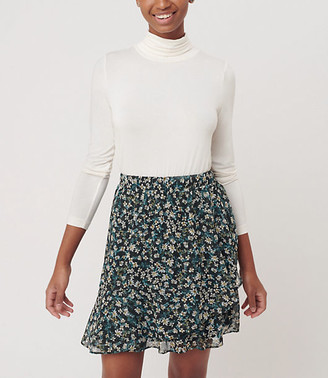 LOFT Floral Ruffle Pull On Skirt