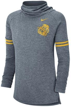 Nike Women's Heathered Navy Michigan Wolverines Vault Sleeve Striped Funnel Neck Sweatshirt