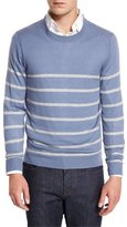 Neiman Marcus Cashmere-Cotton Striped Crewneck Sweater, Denim/Ash