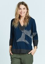 Karen Zambos Feather Hooded Pullover