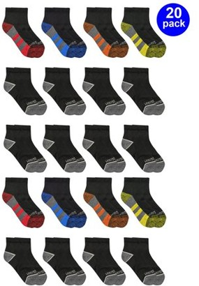 Fruit of the Loom Boys Cushioned Ankle Socks, 20 Pack, Sizes S - L