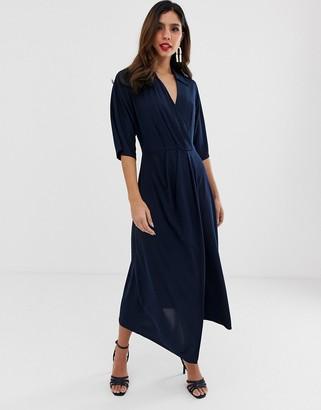 Closet London Closet wrap midi dress-Navy