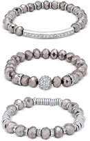 GUESS Two-Tone Beaded Pavé Stretch Bracelets