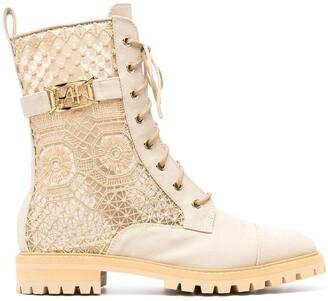 Alberta Ferretti Lace-Panel Combat Boots
