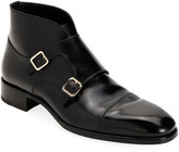 Tom Ford Men's Double-Monk Strap Leather Ankle Boots