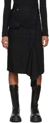 Sacai Black Denim Asymmetric Skirt