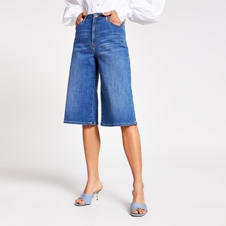 River Island Womens Blue mid rise culotte jeans