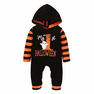Armilum Baby Products Newborn Halloween Jumpsuits Newborn Baby Boys Girls Halloween Letter Print Striped Hoodie Jumpsuits Clothing for Kids3M-18M