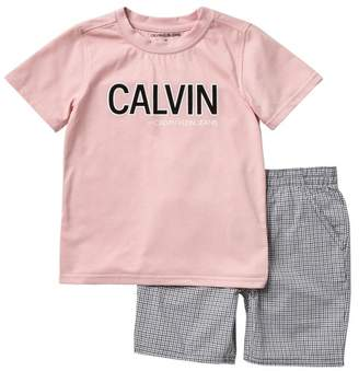 Calvin Klein T-Shirt & Check Shorts Set (Little Boys)