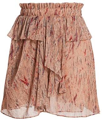 IRO Joucas Print Ruffle A-Line Skirt