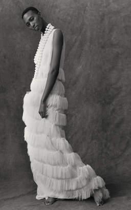 Maison Rabih Kayrouz Silk Fringe Maxi Skirt