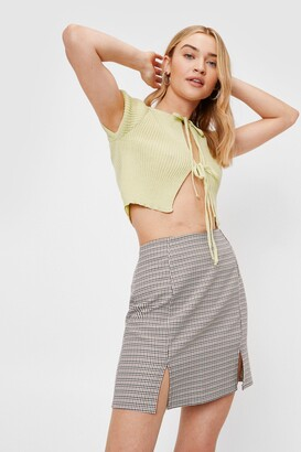 Nasty Gal Womens We'll Slit This One Out Check Mini Skirt - Brown - 4