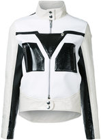 Courreges graphic contrast faux leather jacket - women - Polyester/Polyurethane - 36