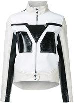 Courreges graphic contrast faux leather jacket
