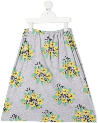The Animals Observatory floral-logo print A-line skirt